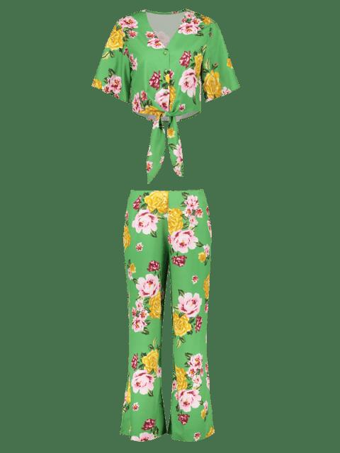 sale Floral Wide Leg Pants Set - GREEN M Mobile