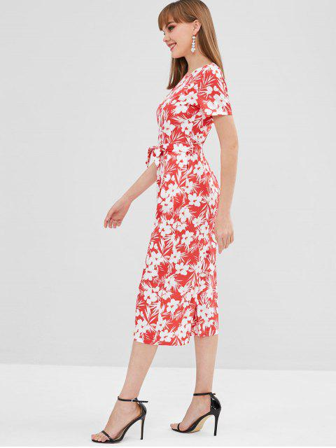 women Flower Belted Pocket Wide Leg Jumpsuit - RED L Mobile