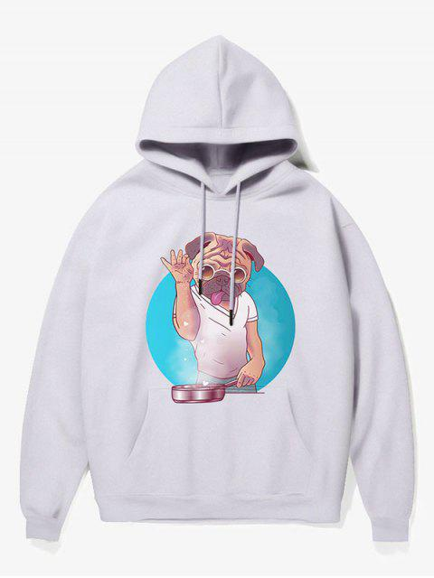 buy Cartoon Dog Man Print Fleece Hoodie - WHITE XS Mobile