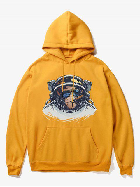 new Cartoon Monkey Astronaut Print Fleece Hoodie - YELLOW XS Mobile