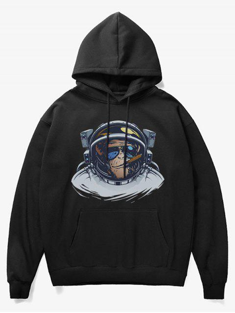 unique Cartoon Monkey Astronaut Print Fleece Hoodie - BLACK XS Mobile