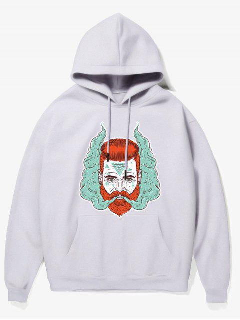 ladies Man Head With Smoke Print Fleece Hoodie - WHITE XS Mobile