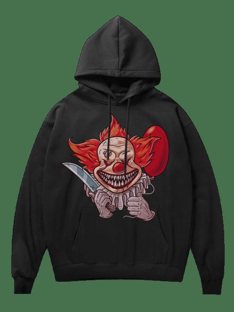 new Clown Print Fleece Hoodie - BLACK S Mobile