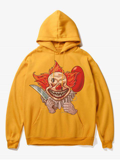 affordable Clown Print Fleece Hoodie - YELLOW XS Mobile