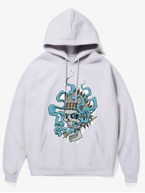 shop Smoking Skull Print Fleece Hoodie - WHITE M Mobile