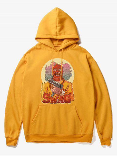 fancy Cartoon Bad Guy Print Fleece Hoodie - YELLOW M Mobile