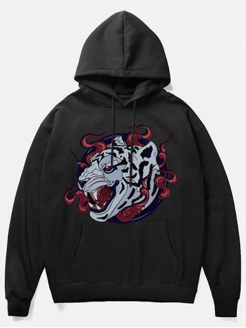 online Leopard Head Print Fleece Hoodie - BLACK M Mobile