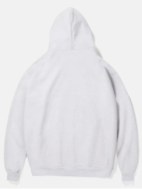 outfits Leopard Head Print Fleece Hoodie - WHITE S Mobile