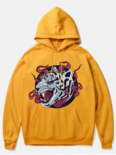 online Leopard Head Print Fleece Hoodie - YELLOW M Mobile
