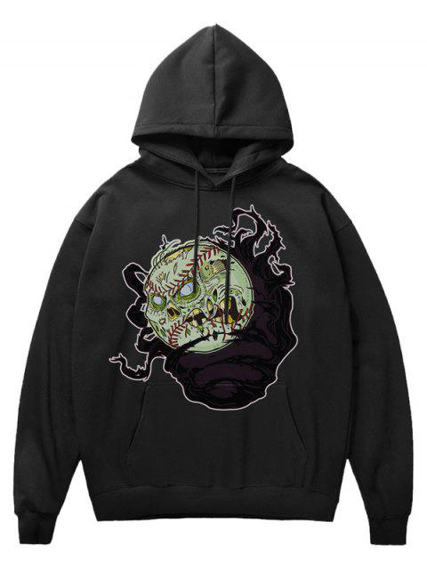 new Cartoon Evil Baseball Print Fleece Hoodie - BLACK S Mobile