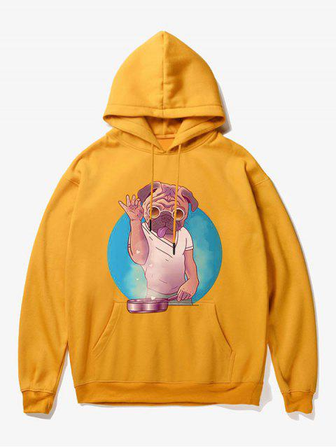unique Cartoon Dog Man Print Fleece Hoodie - YELLOW S Mobile