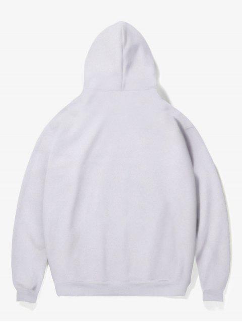 buy Clown Print Fleece Hoodie - WHITE M Mobile