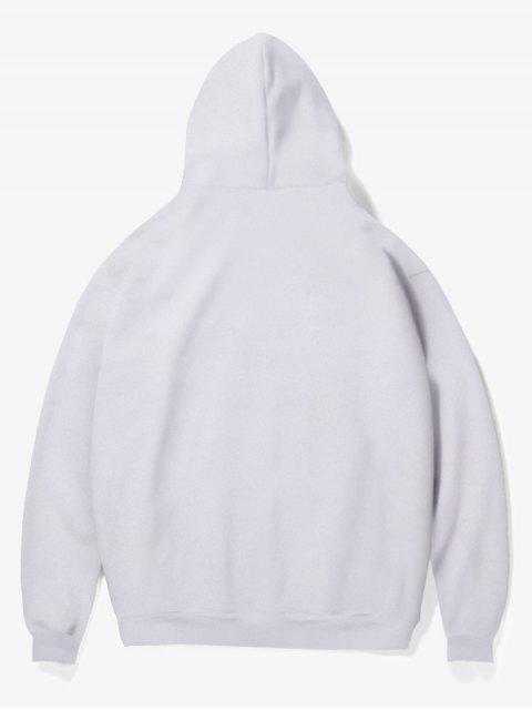 women Cartoon Bad Guy Print Fleece Hoodie - WHITE S Mobile