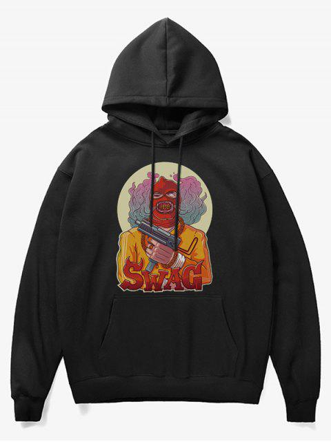 new Cartoon Bad Guy Print Fleece Hoodie - BLACK XS Mobile