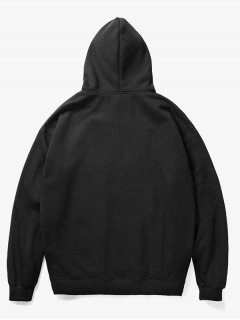 fashion Cartoon Dog Bone Print Fleece Hoodie - BLACK M Mobile
