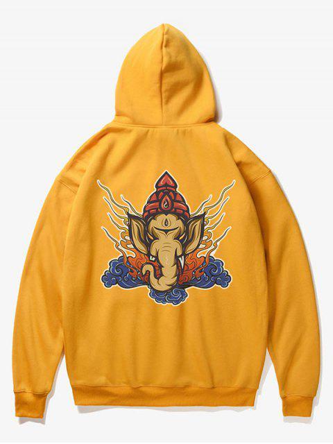 sale Elephant Head Print Fleece Hoodie - YELLOW XS Mobile