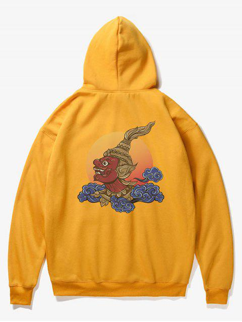 women Man Cloud Print Fleece Hoodie - YELLOW XS Mobile