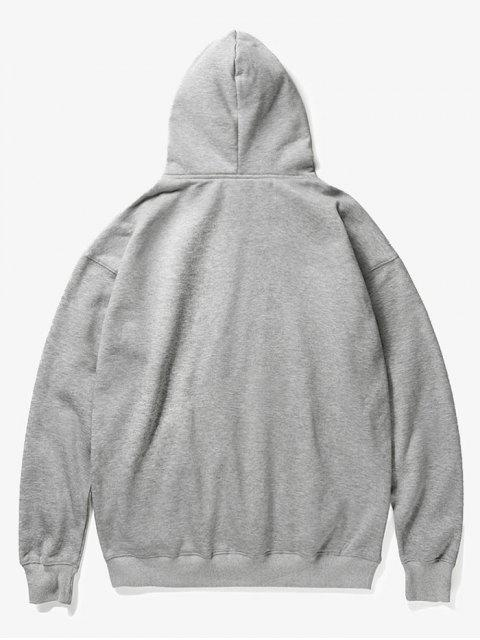 ladies Evil Head Print Fleece Hoodie - GRAY S Mobile