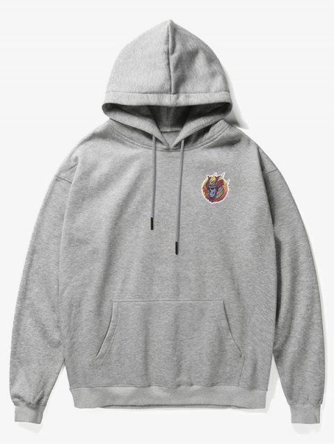 online Skull Soldier Print Fleece Hoodie - GRAY S Mobile