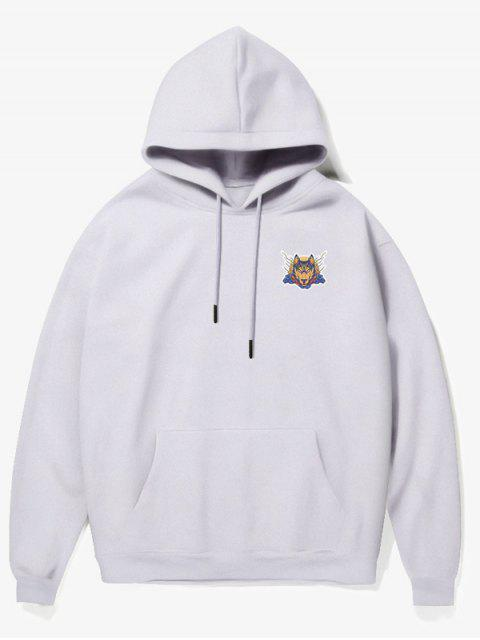 lady Wolf Head Print Fleece Hoodie - WHITE XS Mobile