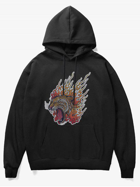 online Roar Tiger Head Print Fleece Hoodie - BLACK S Mobile