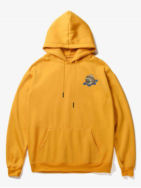 chic Cartoon Monster Print Fleece Hoodie - YELLOW XS Mobile