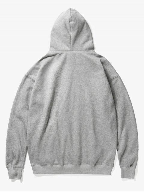 buy Roar Tiger Head Print Fleece Hoodie - GRAY M Mobile