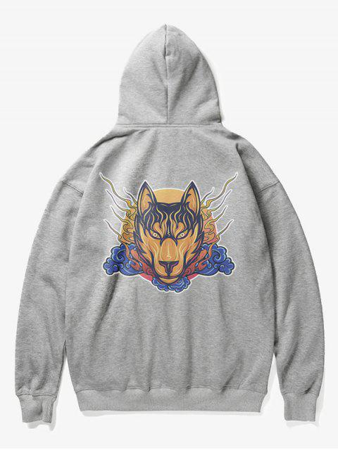 outfit Wolf Head Print Fleece Hoodie - GRAY S Mobile