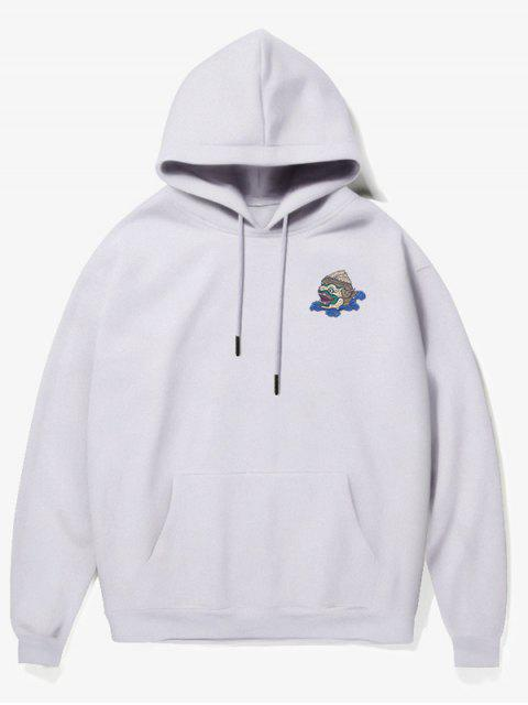 shops Cartoon Monster Print Fleece Hoodie - WHITE S Mobile