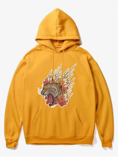 latest Roar Tiger Head Print Fleece Hoodie - YELLOW XS Mobile