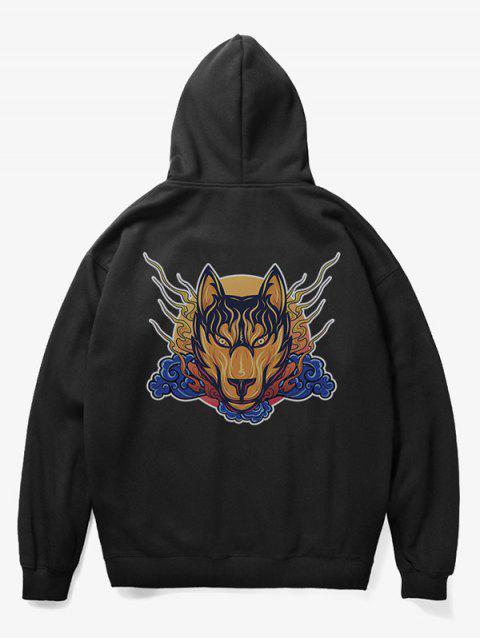 trendy Wolf Head Print Fleece Hoodie - BLACK S Mobile