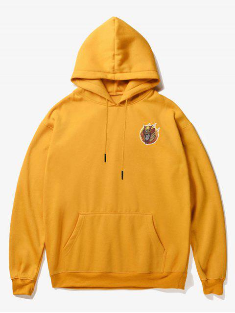 affordable Skull Soldier Print Fleece Hoodie - YELLOW XS Mobile