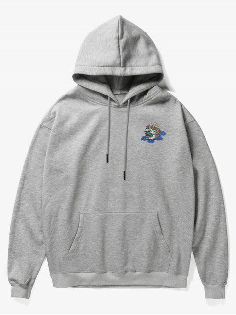 buy Cartoon Monster Print Fleece Hoodie - GRAY M Mobile