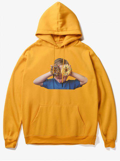 best Donut Kid Print Fleece Hoodie - YELLOW M Mobile