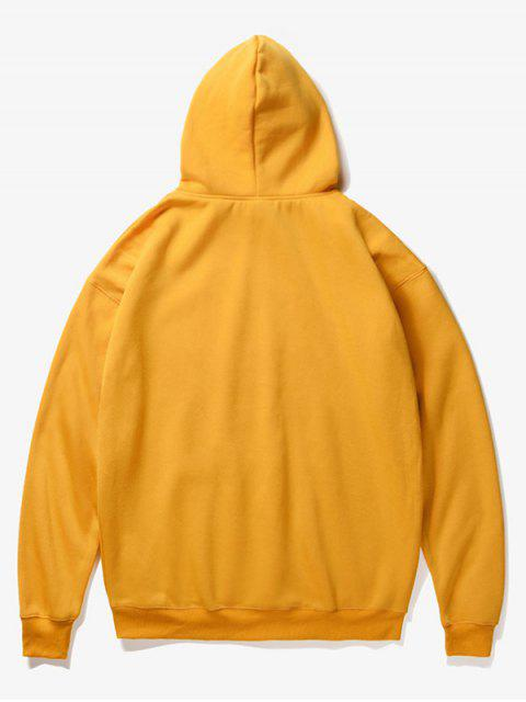 online Tiger Head Print Fleece Hoodie - YELLOW S Mobile