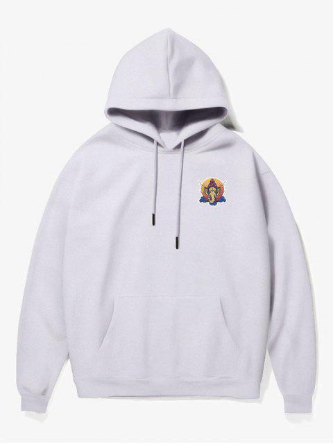 chic Elephant Head Print Fleece Hoodie - WHITE S Mobile