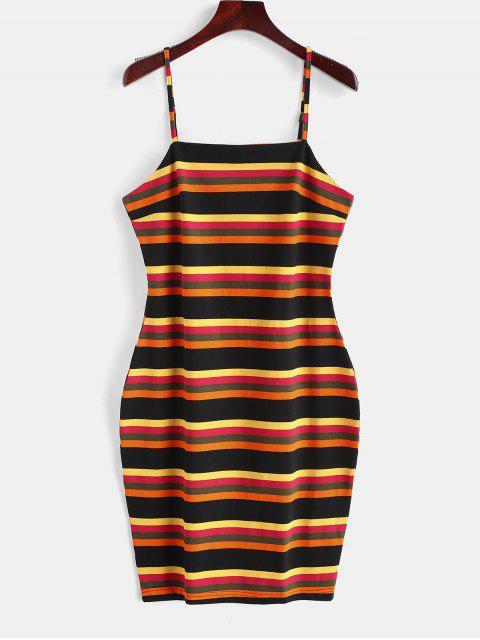 unique ZAFUL Cami Striped Bodycon Dress - MULTI S Mobile