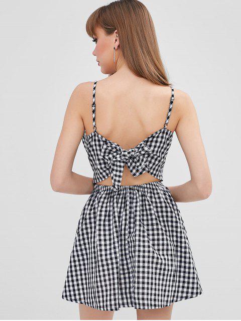 online Twist Front Gingham Cami Dress - BLACK XL Mobile
