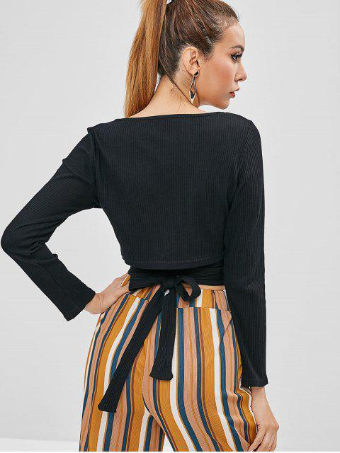 affordable Buttoned Tie Crop Top - BLACK XL Mobile