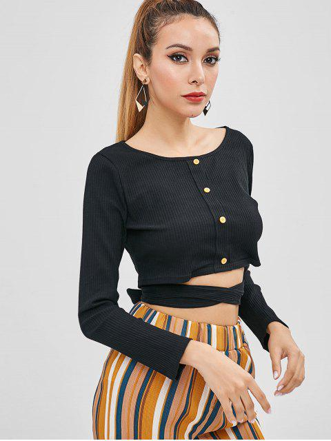 lady Buttoned Tie Crop Top - BLACK M Mobile