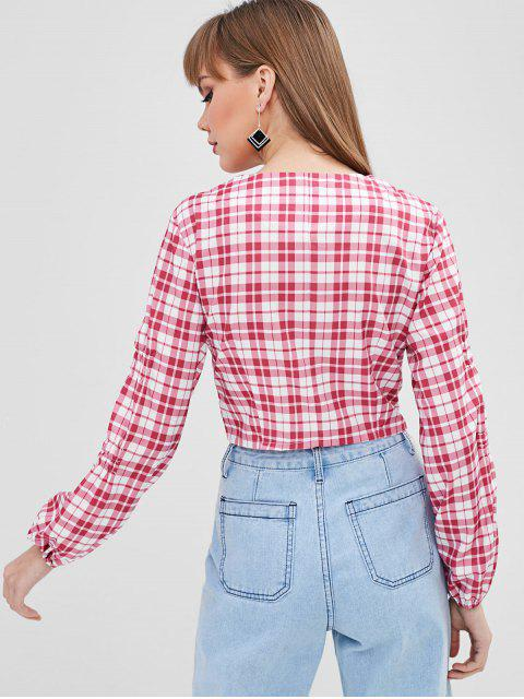 new Plunging Plaid Crop Blouse - PINK M Mobile