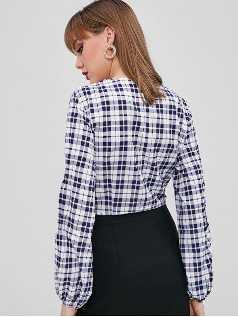 affordable Plunging Plaid Crop Blouse - DEEP BLUE M Mobile