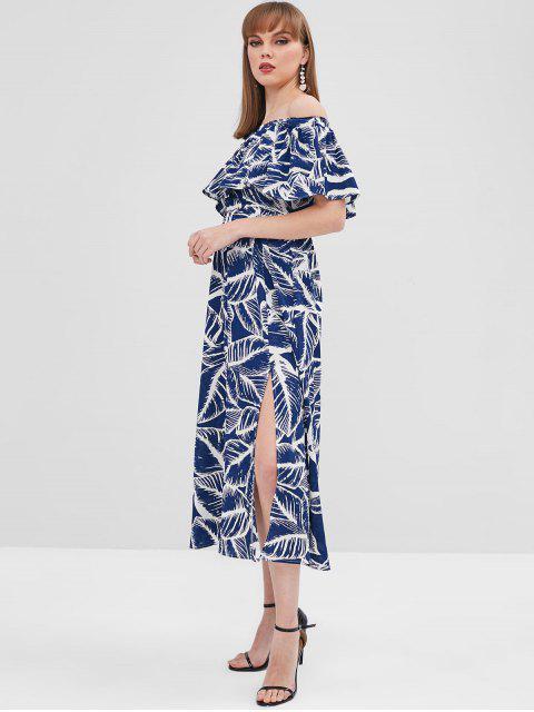 Vestido de hombro con abertura y estampado de hojas - Azul de Pizarra Oscuro L Mobile