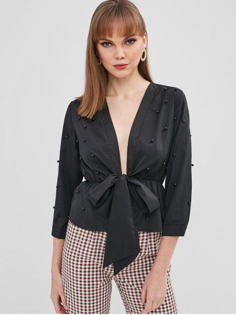 outfit Beaded Tie Front Blouse - BLACK L Mobile