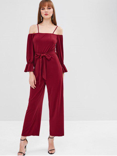 outfits Belt Cold Shoulder Jumpsuit - RED WINE M Mobile