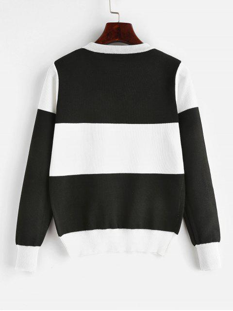 lady Pullover Color Block Crew Neck Sweater - BLACK ONE SIZE Mobile