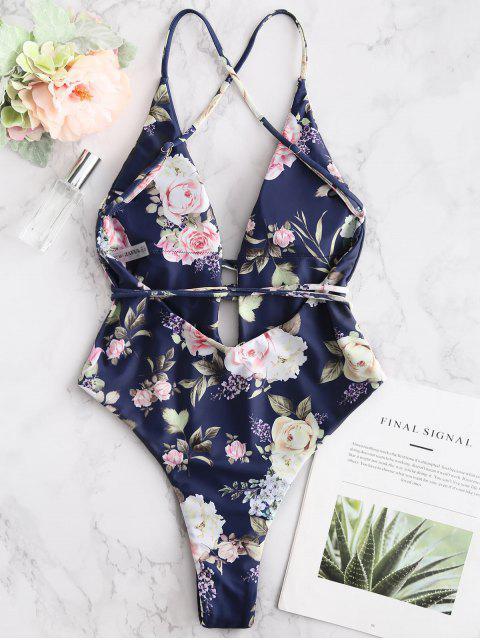 trendy ZAFUL Flower Cross Cross Backless Swimsuit - DEEP BLUE S Mobile