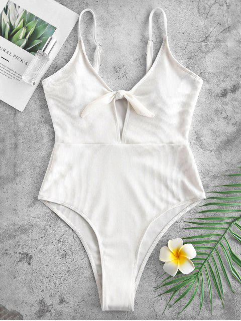 sale Ribbed Knotted Cami Swimsuit - WHITE L Mobile