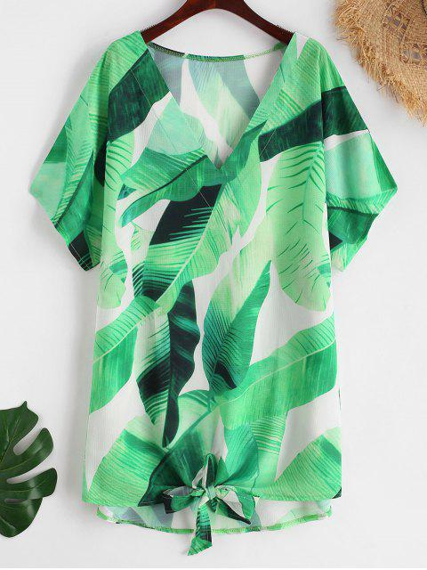 outfit Palm Batwing Sleeve Tie Hem Cover Up - GREEN L Mobile