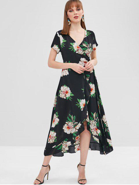 chic Ruffle Floral Wrap Dress - BLACK XL Mobile